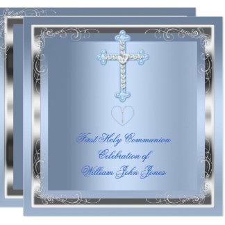 Carte Bleu argenté 2 de première sainte communion de