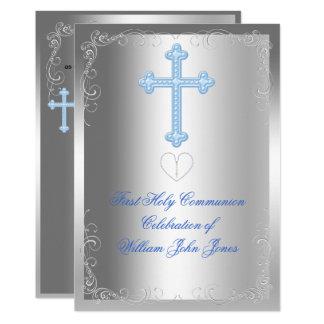 Carte Bleu argenté de première sainte communion de