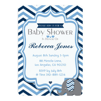 Carte Bleu Chevron de garçon d'invitation de baby shower