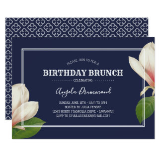 Carte Bleu de brunch d'anniversaire de magnolia du sud