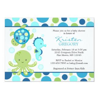 Carte Bleu de │ d'invitations de baby shower de mer de