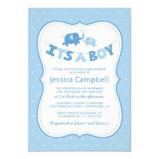 Carte Bleu du baby shower | d'éléphant son un garçon