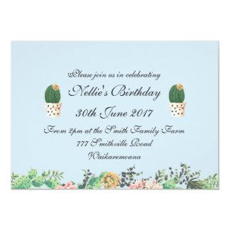 Carte Bleu élégant floral et de cactus