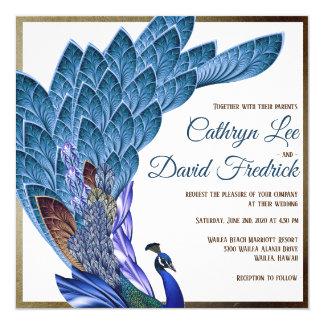 Carte Bleu et feuille d'or élégants d'invitation de