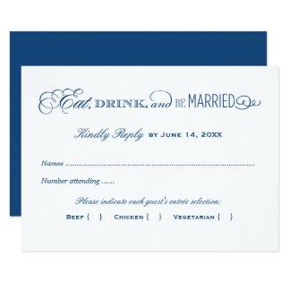 Carte Bleu marine de la carte- de réponse de mariage |