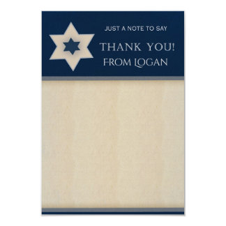 Carte Bleu marine et notes de Merci d'étoile de David de