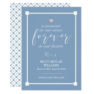 Carte Bleu pour toujours dans notre mémorial de bébé de