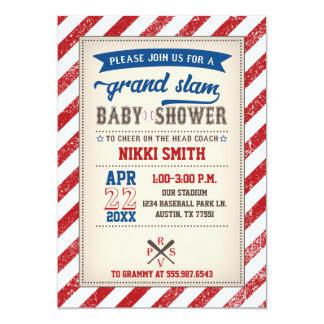 Carte Bleu rouge vintage d'invitation de baby shower de