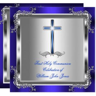 Carte Bleu royal argenté 3b de première sainte communion