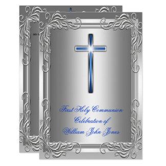 Carte Bleu royal argenté de première sainte communion de