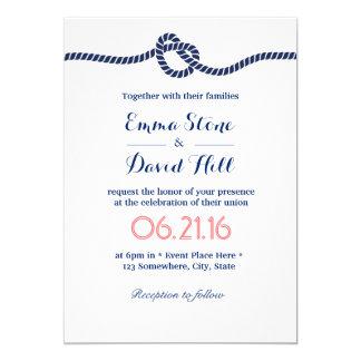 Carte Bleu royal attachant le mariage nautique de noeud