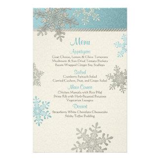 Carte bleue argentée de menu de mariage d'hiver de prospectus 14 cm x 21,6 cm