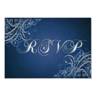 Carte bleue baroque exquise du rouleau RSVP Carton D'invitation 8,89 Cm X 12,70 Cm