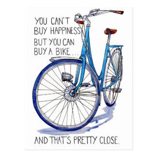 Carte bleue de bonheur de vélo carte postale