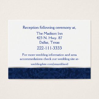 Carte bleue de clôture de mariage damassé