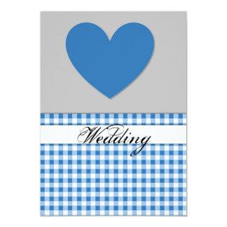 Carte bleue de faire-part de mariage de coeur de