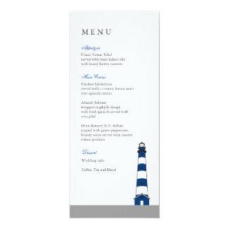 Carte bleue de menu de mariage de phare carton d'invitation  10,16 cm x 23,49 cm