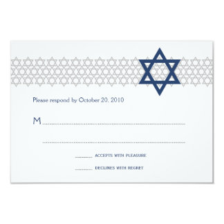 Carte bleue de Mitzvah RSVP de barre brillante
