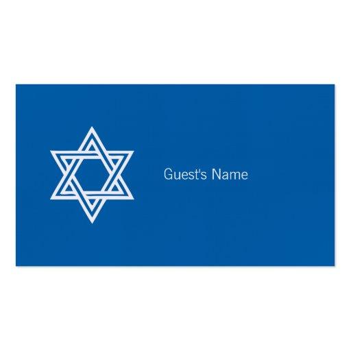 Carte bleue de place d'étoile de David de motif de Modèles De Cartes De Visite