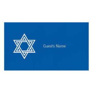 Carte bleue de place d'étoile de David de motif de Carte De Visite Standard