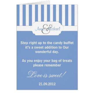 Carte bleue de poème de buffet de sucrerie de