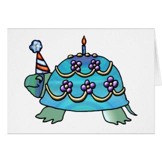 Carte bleue de tortue d'anniversaire