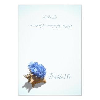 Carte bleue d'endroit de coquillage d'hortensia invitations personnalisées