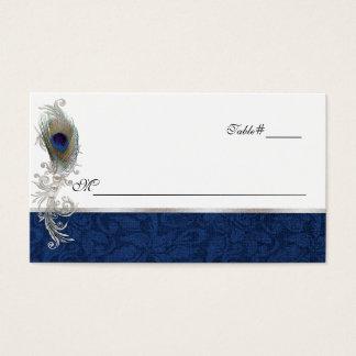 Carte bleue d'endroit de mariage de plume de