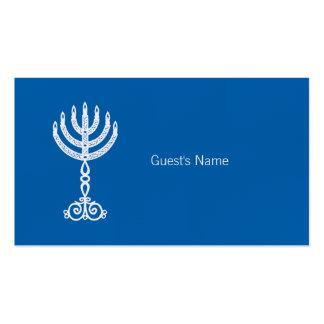 Carte bleue d'endroit de motif de Hanoukka Carte De Visite