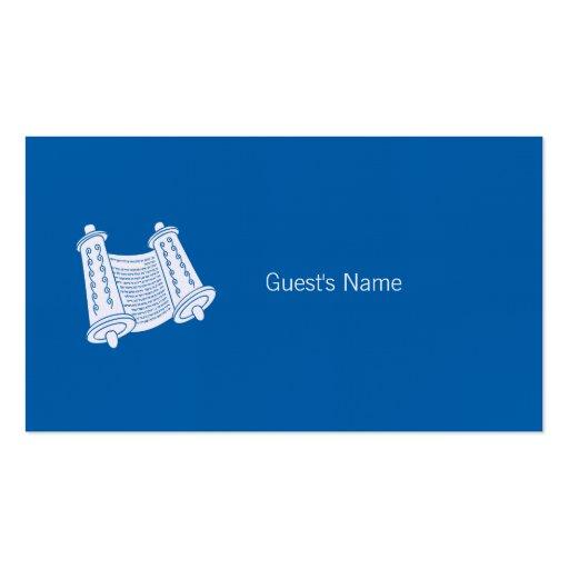 Carte bleue d'endroit de Torah de motif de Hanoukk Cartes De Visite Personnelles