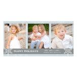 Carte bleue et grise de vacances de flocon de neig photocarte