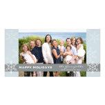Carte bleue et grise de vacances de flocon de neig modèle pour photocarte