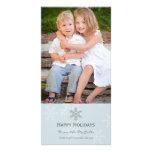 Carte bleue et grise de vacances de flocon de neig cartes de vœux avec photo