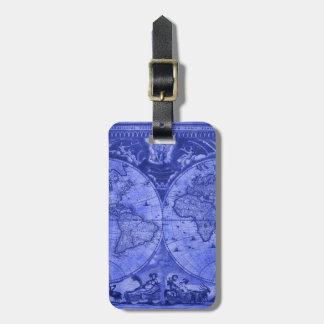 Carte bleue J Blaeu 1664 du monde d'antiquité de Étiquette À Bagage