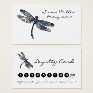 Carte bleue minimaliste de fidélité de libellule
