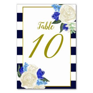 Carte bleue profonde florale et d'or de Tableau de