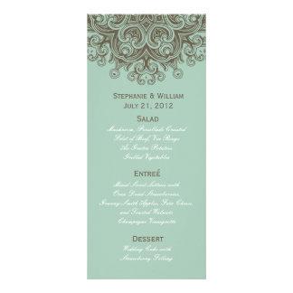 Carte bleue vintage de support de menu de mariage  double carte personnalisée