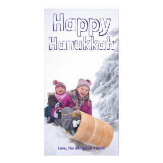 Carte Bloc bleu heureux de Hanoukka - Photocard