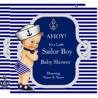 Carte Blonde de rayure bleue de garçon de marin de baby
