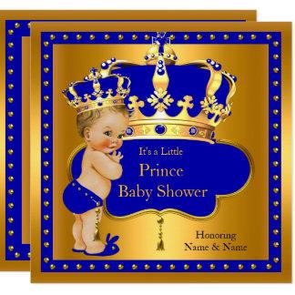 Carte Blonde royale de couronne de garçon bleu de prince