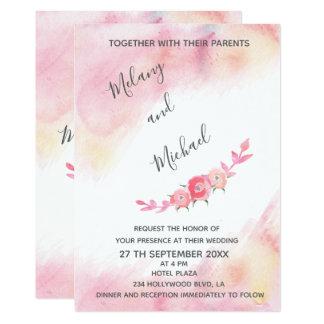 Carte Boho rougissent les roses romantiques d'aquarelle