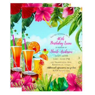 Carte Boissons et fête d'anniversaire tropicales d'été