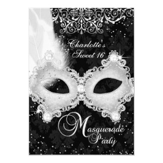 Carte Bonbon argenté noir 16 à mascarade de masque de