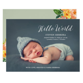 Carte Bonjour monde recouvert avec la naissance florale
