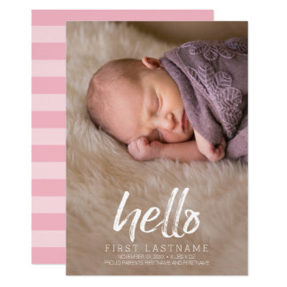 Carte Bonjour photo balayée lunatique de bébé de lettres