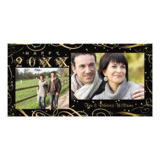 Carte Bonne année, noir élégant et rouleau d'or