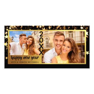 Carte Bonne année, noir et étoiles d'or