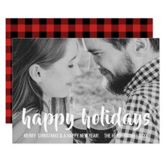 Carte Bonnes fêtes guingan rouge de Buffalo de Noël