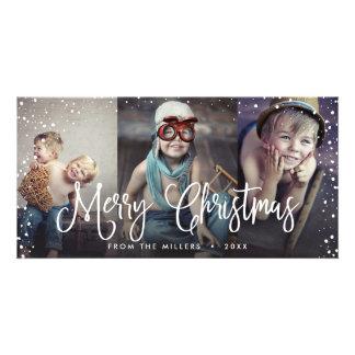 Carte Bonnes fêtes Noël 3-Photo sans couture de neige