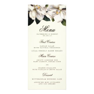 Carte botanique de menu de mariage de magnolia du